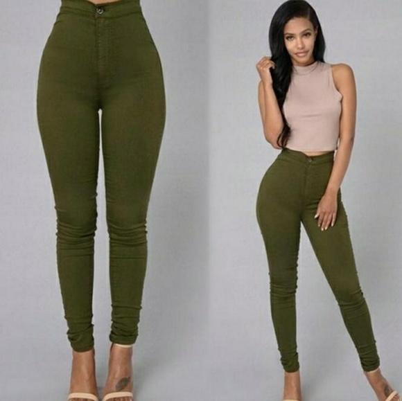 671bbc9ca4f Olive High Waist Trousers. M 5a4fcb609cc7ef5bb3000f94